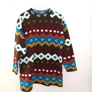 90s VTG OVERSIZED Color Block Sweater 80s XL Dad